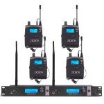 UHF Wireless in Ear Monitor System with 4 Receivers 2 Channel 80 Set
