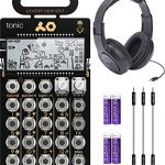 Teenage Engineering PO-32 Pocket Operator Tonic Drum Synth Bundle with Samson SR350 Over-Ear Closed-Back Headphones, Blucoil 3-Pack of 7″ Audio Aux Cables, and 4 AAA Batteries