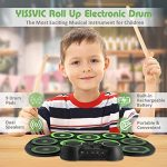 YISSVIC Electronic Drum Set Electric Drum Set 9 Drum Pads Rechargeable Battery Roll Up Drum Portable with Headphone Jack Built-in Speaker for Kids or Beginner 1