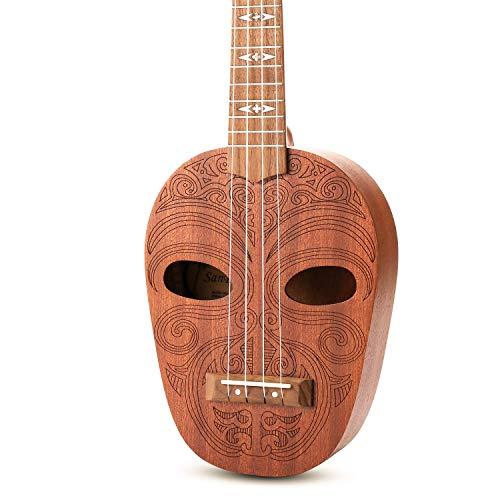 SanDona Soprano Ukulele 21 Inch Kit ET-1 | Hawaiian Carved 2 Sound Holes