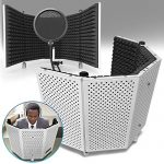 AxcessAbles Vented Recording Studio Microphone Isolation Shield (White)