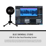 Blue Snowball Studio USB All-In-One Vocal Recording System with Samson Dynamic Headphones, Mic Pop Filter, and Fibertique Cloth 1