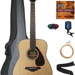 Yamaha FG800 Solid Top Folk Acoustic Guitar – Natural Bundle with Gig Bag, Tuner, Strings, Strap, Picks, Austin Bazaar Instructional DVD, and Polishing Cloth