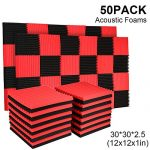 50 Pack Acoustic Panels Soundproof Studio Foam for Walls Sound Absorbing Panels Sound Insulation Panels Wedge for Home Studio Ceiling, 1″ X 12″ X 12″, Black (50PCS, Black&Red)