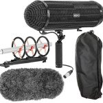 Movo BWS1000 Blimp Microphone Windshield Mount and Vibration Protection System for Shotgun Microphones – Has 12-point Internal Shock Mount, Integrated XLR Cable, Deadcat Windscreen and Grip Handle