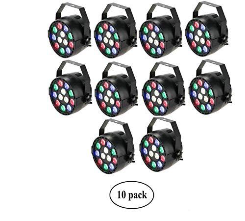 Lixada 10 Packs RGBW LED Stage PAR Light Strobe Professional