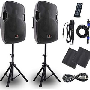 Powered PA Speakers,2-Way 15 Inch Pair Bulit in Bluetooth USB