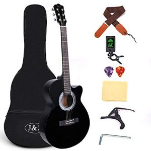 Beginner Acoustic Guitar 40 Inch Cutaway Mahogany Black Guitar Bundle
