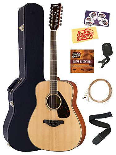 Yamaha 12-String Solid Top Folk Acoustic Guitar - Natural Bundle