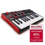 Akai Professional MPK Mini MKII | 25 Key Portable USB MIDI Keyboard With 8 Backlit Performance Ready Pads, 8 Assignable Q Link Knobs & A 4 Way Thumbstick