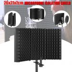 Professional Microphone Isolation Shield, Pop Filter, Studio Mic Sound Absorbing Foam Reflector for Any Condenser Microphone Recording Equipment Studio 1