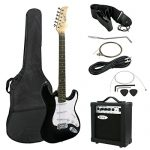 ZENY 39″ Full Size Electric Guitar with Amp, Case and Accessories Pack Beginner Starter Package, Black