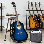 Best Choice Products 41in Full Size Acoustic Electric Cutaway Guitar Set w/ 10-Watt Amp, Capo, E-Tuner, Case – Blue 1