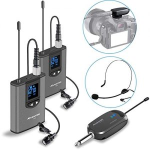 Wireless Headset Lavalier Microphone System -Alvoxcon Dual Wireless