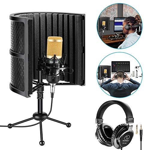 Neewer Tabletop Microphone Isolation Shield with Absorbing Foam