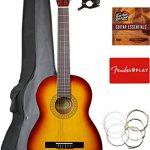 Fender Squier Classical Acoustic Guitar – Sunburst Bundle with Gig Bag, Tuner, Strings, Fender Play Online Lessons, and Austin Bazaar Instructional DVD