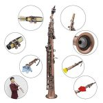ammoon LADE Straight Bb Soprano Saxophone Sax Woodwind Instrument Abalone Shell Key Carve Pattern with Case Gloves Cleaning Cloth Straps Brush,Red Bronze,WSS-899 3