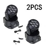 XPC DMX-512 Stage Lighting Mini Moving Head Light 4 In 1 RGBW LED PAR Light Lighting Strobe Professional 9/14 Channels 100W AC 100-240V Sound Active for KTV Club Bar Party Disco DJ Show Bands (2PCS)
