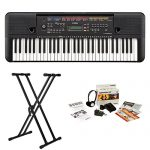 Yamaha 61-Key Portable Keyboard with Knox Double X Stand and Survival kit