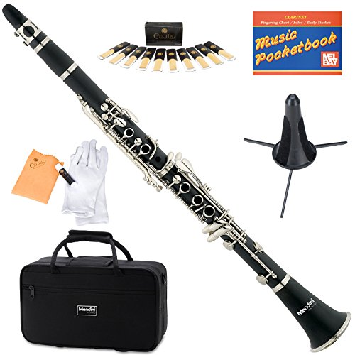 Mendini Black Ebonite B Flat Clarinet with Case, Stand, Pocketbook