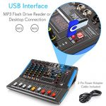 4-Channel Bluetooth Studio Audio Mixer – DJ Sound Controller Interface with USB Drive for PC Recording Input, XLR Microphone Jack, 48V Power, Input/Output for Professional and Beginners – PMXU46BT 3