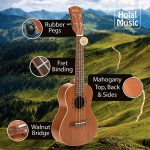 Concert Ukulele Bundle – LEFT HANDED, Deluxe Series by Hola! Music (Model HM-124LFT+), Bundle Includes: 24 Inch Mahogany Ukulele with Aquila Nylgut Strings Installed, Padded Gig Bag, Strap and Picks 1