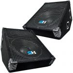 Grindhouse Speakers – GH12M-Pair – Pair of 12 Inch Passive Wedge Floor / Stage Monitors  350 Watts RMS each  – PA/DJ Stage, Studio, Live Sound 10 Inch Monitor