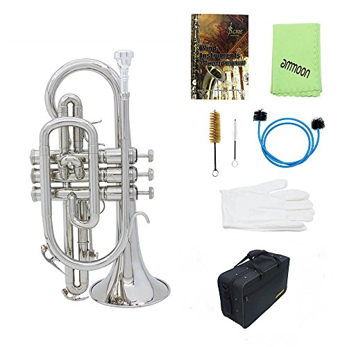 Professional Bb Flat Cornet Brass Instrument with Carrying Case Gloves Cleaning Cloth Brushes
