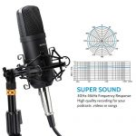 Professional Studio Condenser Microphone Computer PC Microphone Kit with 3.5mm XLR/Pop Filter/Scissor Arm Stand/Shock Mount for Professional Studio Recording Podcasting Broadcasting, Black 3