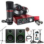Focusrite Scarlett Solo Studio USB Audio Interface and Recording Bundle (2nd Gen) + Mackie CR Series CR3 Multimedia Monitors (Pair) + Quantity x2 Deco Mount PA Speaker Stand + More
