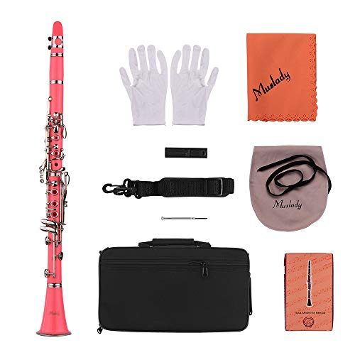 Clarinet,Muslady 17-Key Clarinet,Bb Flat ABS Woodwind Instrument