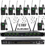 MUSYSIC Professional 8-Channels UHF Lapel Lavalier & Headset Wireless