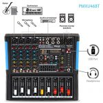 4-Channel Bluetooth Studio Audio Mixer – DJ Sound Controller Interface with USB Drive for PC Recording Input, XLR Microphone Jack, 48V Power, Input/Output for Professional and Beginners – PMXU46BT 1