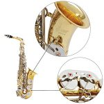 ammoon LADE Alto Saxophone Sax Glossy Brass Engraved Eb E-Flat Natural White Shell Button Wind Instrument with Case Mute Gloves Cleaning Cloth Grease Belt Brush 3
