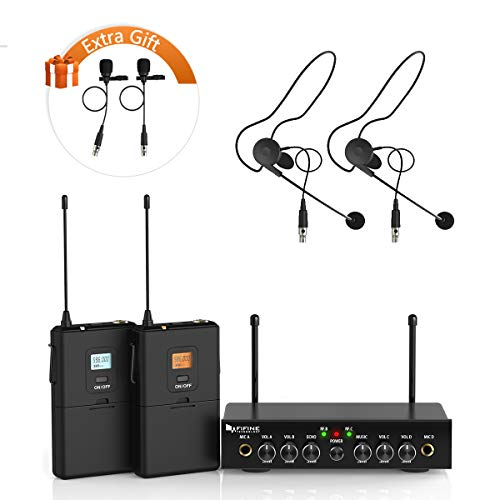 Wireless Microphone System,Fifine UHF Dual Channel Wireless Microphone Set