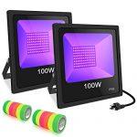 UV LED Black Light, 2 Pack 100W UV LED Floodlight Outdoor