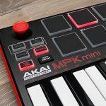 Akai Professional MPK MINI MK2 MKII | 25-Key Ultra-Portable USB MIDI Drum Pad & Keyboard Controller (Red/Black)+ 4-Port USB 2.0 Hub + High Speed USB Extension Cable + Clean Cloth 1