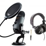 Blue Yeti USB Microphone (Slate) with Headphones and Knox Pop Filter