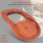 Lyre Harp, AKLOT 16 Metal Strings Mahogany Lye Harp with Tuning Wrench Pick up and Black Gig Bag 3