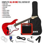LyxPro 39 inch Electric Guitar Kit Bundle with 20w Amplifier, All Accessories, Digital Clip On Tuner, Six Strings, Two Picks, Tremolo Bar, Shoulder Strap, Case Bag Starter kit Pack Full Size 1