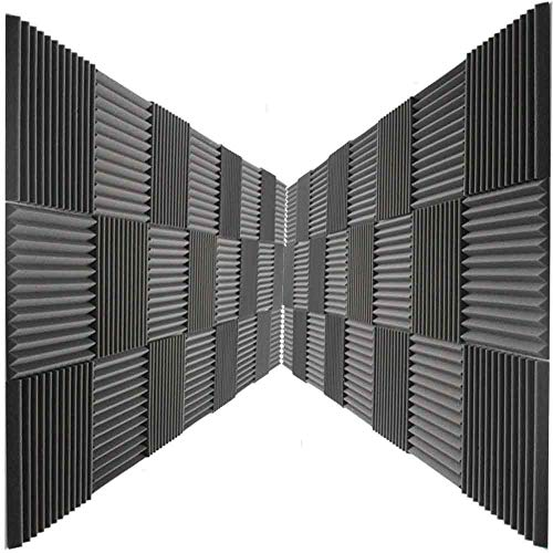 48 Pack Acoustic Panels Studio Foam Charcoal Wedges