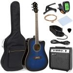 Best Choice Products 41in Full Size Acoustic Electric Cutaway Guitar Set w/ 10-Watt Amp, Capo, E-Tuner, Case – Blue