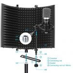 Neewer Microphone Isolation Shield – Foldable Tri-Fold Studio Mic Sound Absorbing Foam Reflector for Any Condenser Microphone Studio Recording Equipment (Black) 1