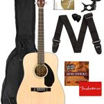 Fender CD-60S Dreadnought Acoustic Guitar – Natural Bundle with Gig Bag, Tuner, Strap, Strings, Picks, Fender Play Online Lessons, and Austin Bazaar Instructional DVD
