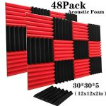 48 Pack Black&Red Acoustic Foam Panels 2″ X 12″ X 12″ Soundproofing Studio Foam Wedge Tiles Fireproof – Top Quality – Ideal for Home & Studio Sound Insulation (48Pack, BLACK&RED)