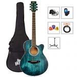 WINZZ 40 Inches Cutaway Acoustic Guitar Beginner Starter Bundle with Padded Bag, Stand, Tuner, Pickup, Strap, Picks, Blue
