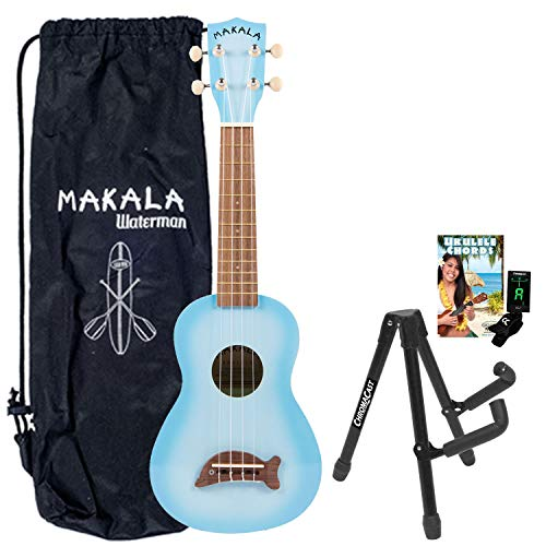 Kala Light Blue Soprano Dolphin Series Ukulele with Stand