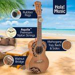 Hola! Music HM-124TT+ Laser Engraved Mahogany Concert Ukulele Bundle with Aquila Strings, Padded Gig Bag, Strap and Picks – Tribal Tattoo 1