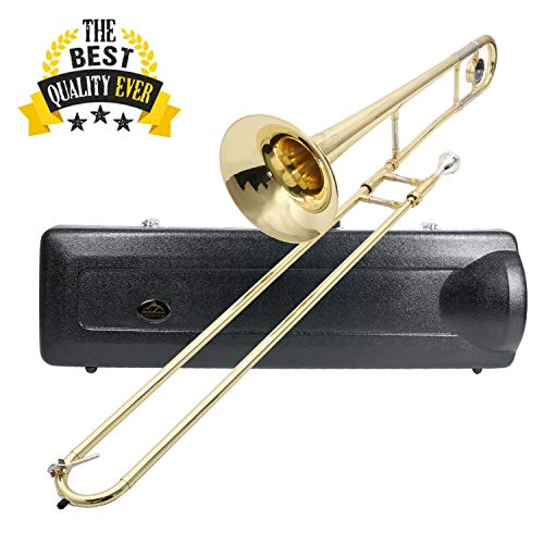 "EASTROCK Bb Tenor Slide Trombone Brass for Student,Beginner-Standard Trombone with Hard Case Mouthpiece Cleaning Kit (7.874"" Bell)"