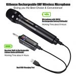 Kithouse K380S Rechargeable Wireless Microphone Karaoke Microphone Wireless Mic Dual with Receiver System Set – Professional UHF Handheld Dynamic Cordless Microphone for Singing Karaoke Speech Church 2